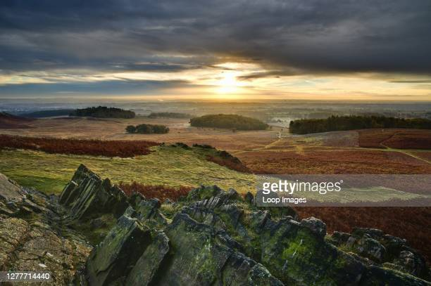 The craggy rocks of Charnwood Forest are of volcanic origin