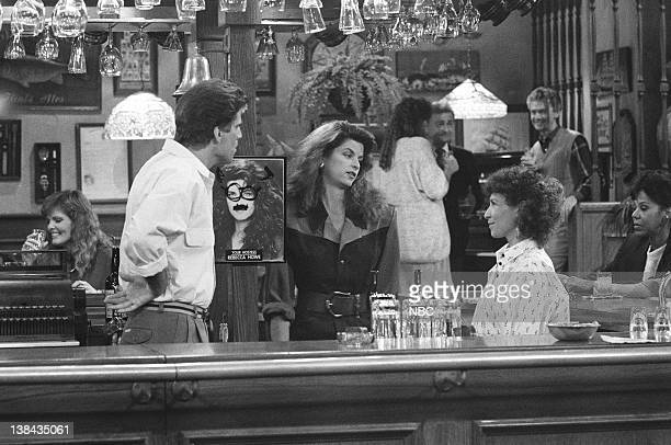 CHEERS 'The Crane Mutiny' Episode 5 Air Date Pictured Ted Danson as Sam Malone Kirstie Alley as Rebecca Howe Rhea Perlman as Carla LeBec
