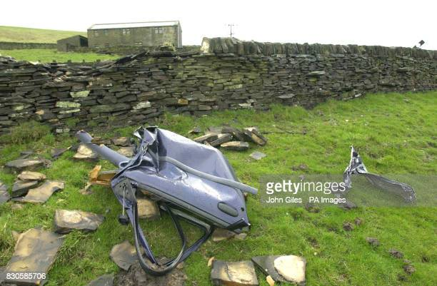 The crash scene near Huddersfield where Monica Coghlan the former prostitute at the centre of the Lord Archer libel trial crashed Ms Coghlan was...
