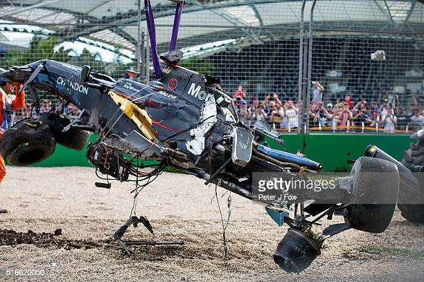 The crashed car of Fernando Alonso and McLaren and Spain during the Australian Formula One Grand Prix at Albert Park on March 20 2016 in Melbourne...