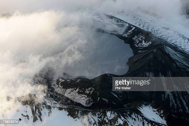 The crater lake of Mount Ruapehu showing the path the Lahar took after breaking the crater wall on Mount Ruapehu on March 18 2007 in the National...