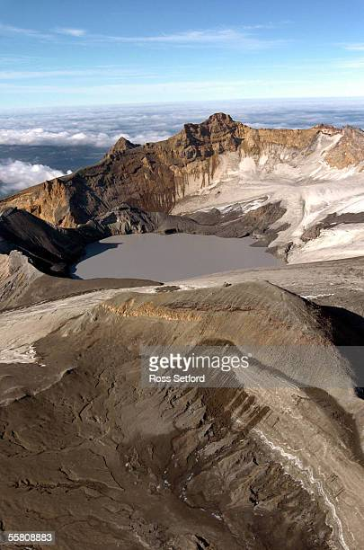 The crater lake on Mount Ruapehu New Zealand Wednesday Mar 16 2004 Scientists are expecting the crater lake to spill over the ash wall centre causing...