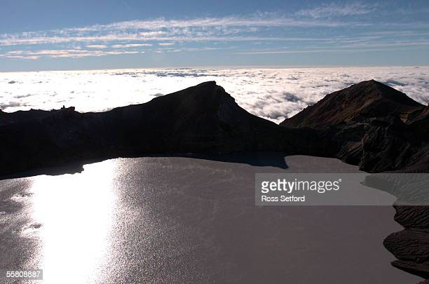 The crater lake on Mount Ruapehu New Zealand Wednesday Mar 16 2004 Scientists are expecting the crater lake to spill over an ash wall causing a lahar...