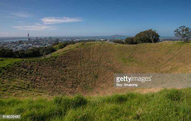 The crater of Mount Eden an iconic volcano in Auckland, New Zealand.