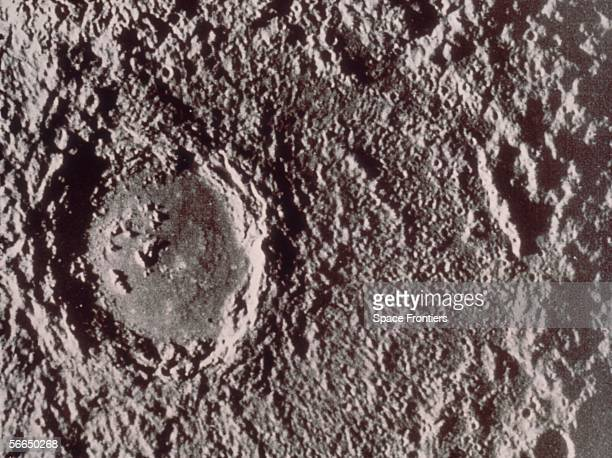 The cratered surface of the planet Mercury photographed by the Mariner 10 spacecraft circa 1974