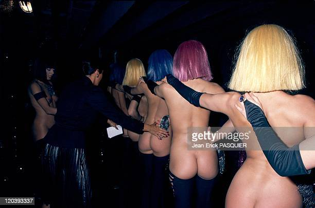 The CrazyHorse in Paris France in 1985 Sophia Palladium French choregrapher putting girls in line after the final