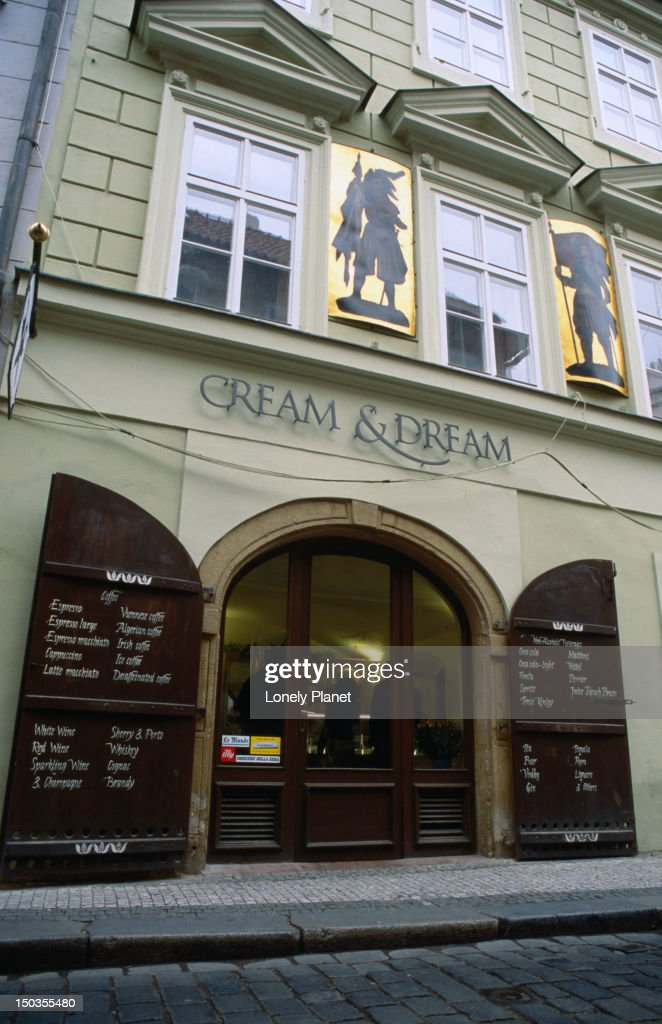 The Cream and Dream cake Shop in Old Town Prague. : Stock Photo