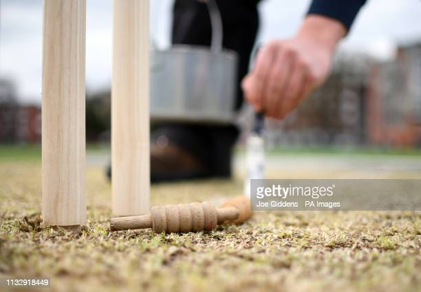 The crease is marked during day one of the first class match between Cambridge MCCU and Essex at Fenner's, Cambridge.