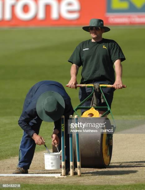 The crease is prepared between innings