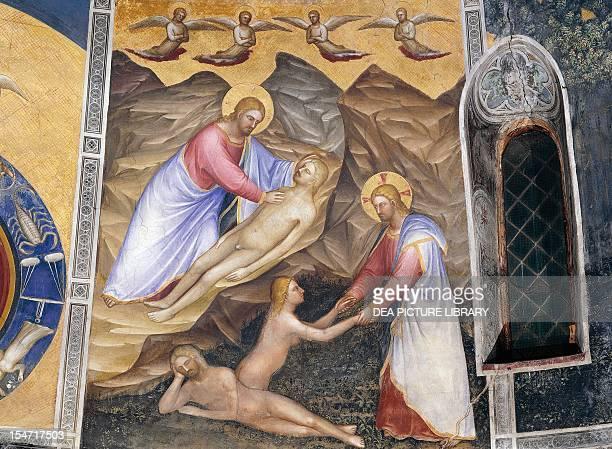 The creation of Adam and Eve, scene from Stories of Genesis, 1375-1378, by Giusto de' Menabuoi , fresco, drum, Baptistry of St John, Padua, Veneto....