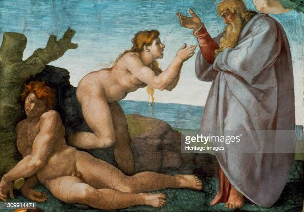 The Creation of Eve , 1508-1512. Found in the collection of The Sistine Chapel, Vatican. Artist Buonarroti, Michelangelo . .