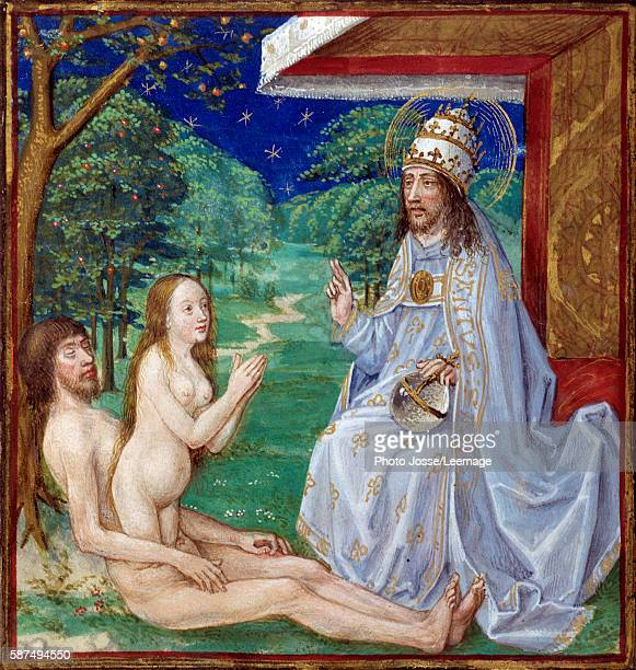 The Creation of Eve from Adam's rib in the Garden of Eden Miniature from 'The Mirror of Human Salvation' illuminated by the French School of the 15th...