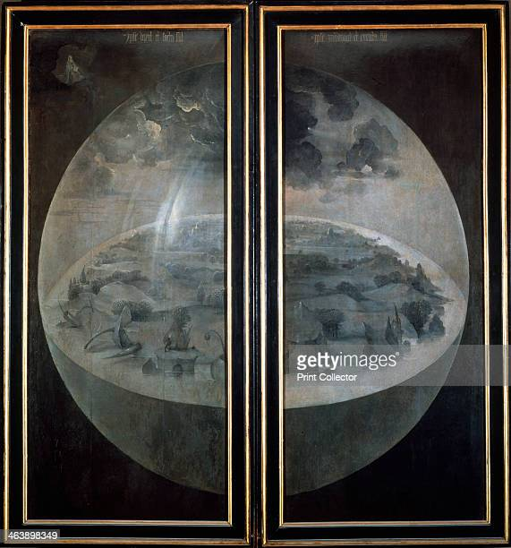 'The Creation of the World' closed doors of the triptych 'The Garden of Earthly Delights' c1500 Found in the collection of the Prado Madrid Spain