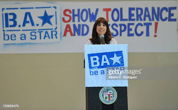 The Creative Coallition's CEO Robin Bronk attends the WWE and The Creative Coallition's Rally to support the 'be a star' AntiBullying Alliance on...