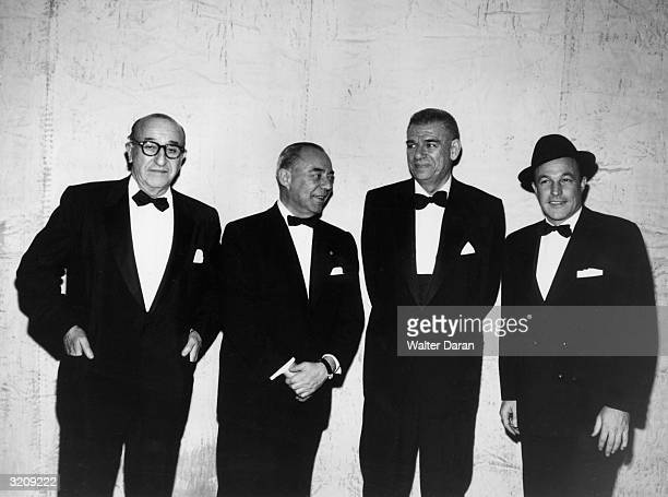 The creators of the musical play 'Flower Drum Song' on the show's opening night LR Joe Fields Richard Rodgers Oscar Hammerstein II and Gene Kelly