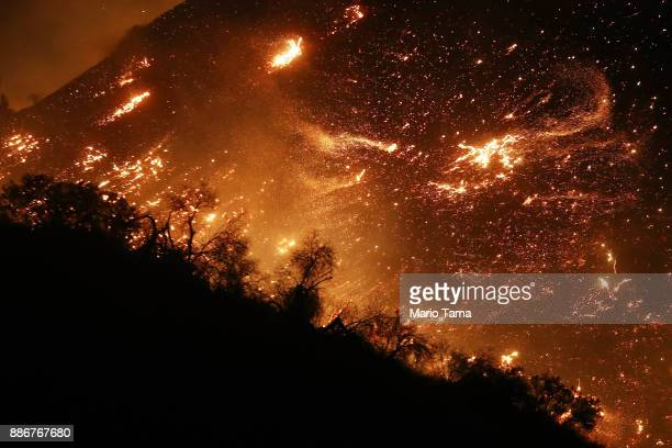 The Creek Fire burns on a hillside in the Shadow Hills neighborhood on December 5 2017 in Los Angeles California Strong Santa Ana winds are rapidly...