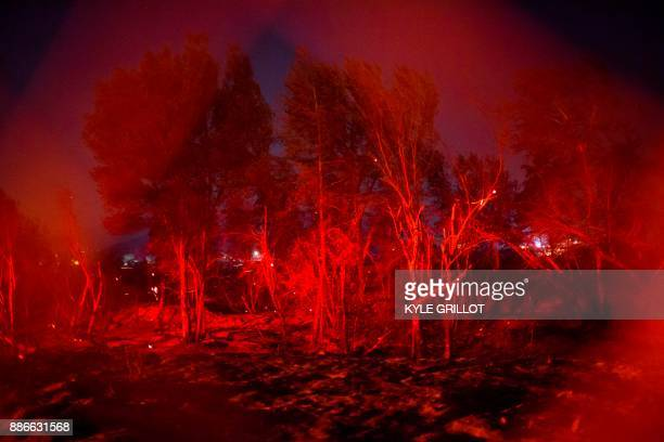 TOPSHOT The Creek Fire jumped Wentworth Street near homes in the Shadow Hills neighborhood of Los Angeles California December 5 2017 More than a...