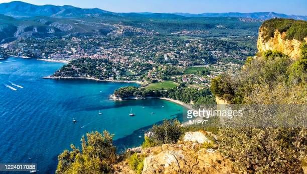 the creeks of the city of cassis seen from the crest road - bouches du rhone stock pictures, royalty-free photos & images