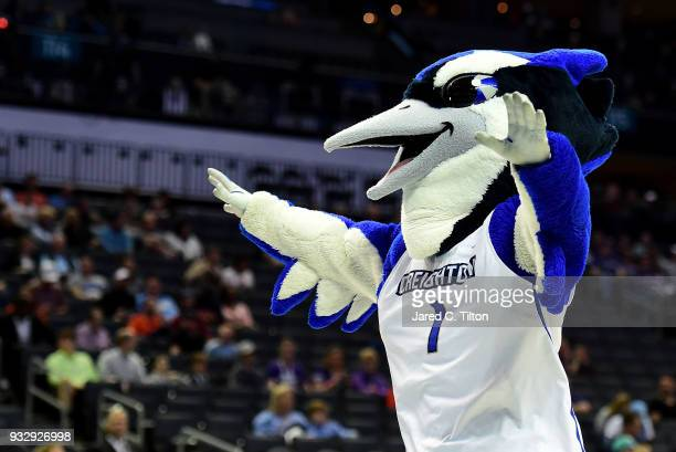The Creighton Bluejay looks to the crowd during a timeout against the Kansas State Wildcats during the first round of the 2018 NCAA Men's Basketball...