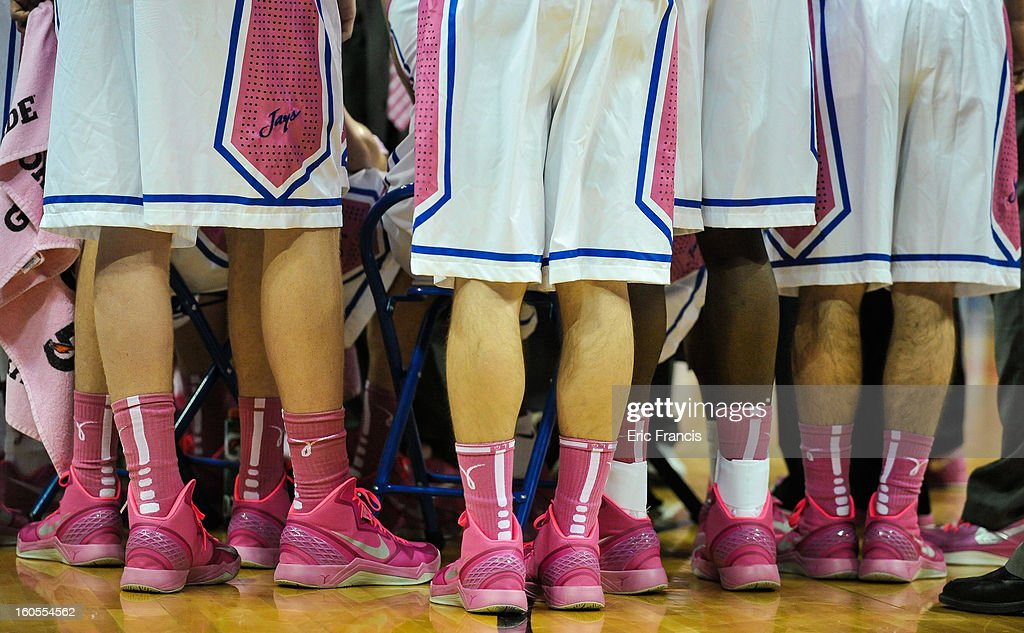 The Creighton Bluejays dressed out in pink in support of breast cancer awareness during their game against the Bradley Braves at the CenturyLink Center on February 2, 2013 in Omaha, Nebraska.
