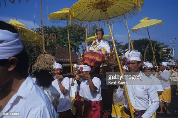 The cremation ceremony of a longdead Balinese queen in Denpasar capital of Bali province 26th August 1992