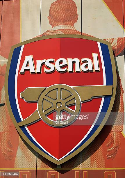 The crest for Arsenal Football Club is displayed on their Emirates Stadium on April 11 2011 in London England American businessman Stan Kroenke's...