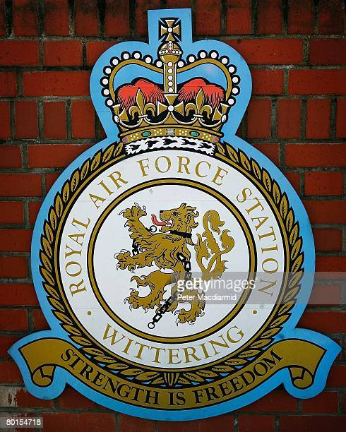 The crest of The Royal Airforce at Wittering is displayed at the front gate on March 7 2008 near Peterborough England Air Force personnel from RAF...
