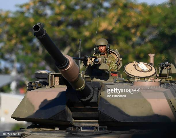 The crew commander of an M1 Abrams tank is seen during the 2nd Cavalry Regiment Mounted Parade on December 01 2018 in Townsville Australia The parade...