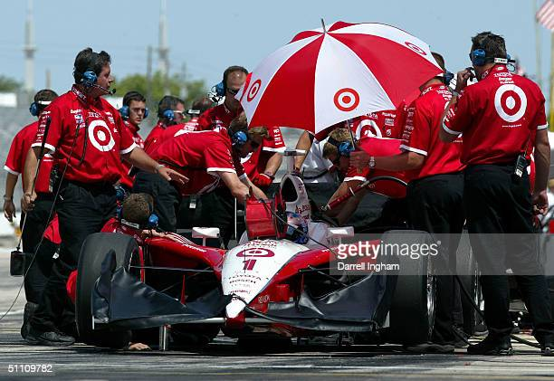 The crew for the Target Chip Ganassi Racing Toyota GForce of Scott Dixon during practice for the Indy Racing League IndyCar Series Menards AJFoyt...