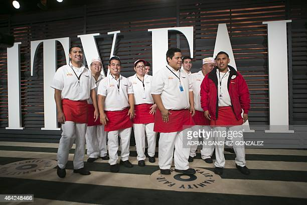 The crew from InNOut Burger arrives to the 2015 Vanity Fair Oscar Party February 22 2015 in Beverly Hills California GONZALEZ