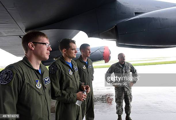 The crew of a B52 bomber at Andersen Air Force Base in northern Guam where the US military is spending an estimated $87 billion on new Marine...