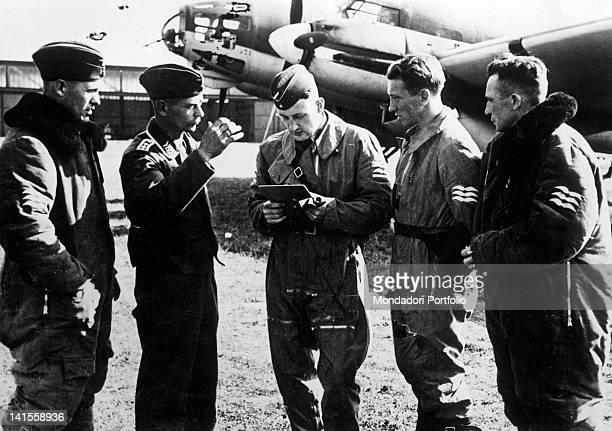 The crew of a German bomber receiving its final orders before an attack behind the Polish front line Poland September 1939