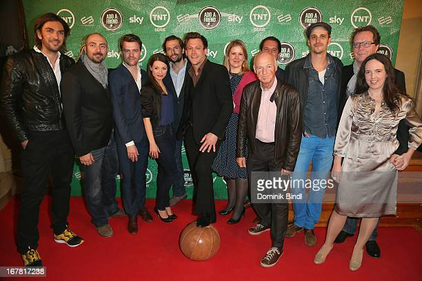 The crew of 'Add a Friend' attend the preview event of the TNT Serie at Bayerischer Hof on April 30 2013 in Munich Germany The second season series...