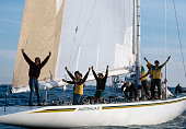 The crew of australia ii celebrate on board after winning the cup in picture id630937608?s=170x170