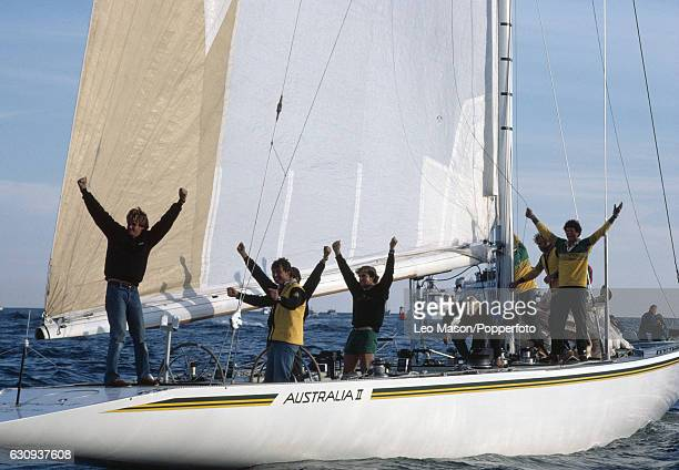 The crew of Australia II celebrate on board after winning the America's Cup in the final race of the series at Newport Rhode Island 26th September...