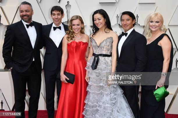 The crew of Best Documentary nominees for Free Solo including climber Alex Honnold Elizabeth Chai Vasarhelyi Jimmy Chin Evan Hayes and Shannon Dill...