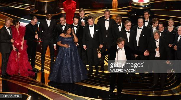 The crew of Best Picture nominee Green Book accepts the award for Best Picture during the 91st Annual Academy Awards at the Dolby Theatre in...