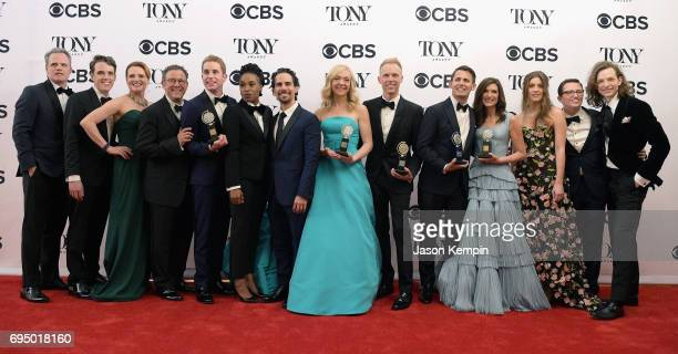"""The crew of """"Dear Evan Hanson"""", winner of the award for Best Musical for """"Dear Evan Hanson,"""" poses in the press room during the 2017 Tony Awards at 3..."""