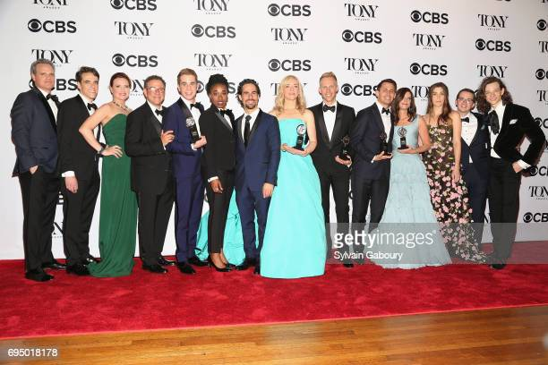 """The crew of Dear Evan Hanson winner of the award for Best Musical for """"Dear Evan Hanson"""" poses in the press room during the 2017 Tony Awards at 3..."""