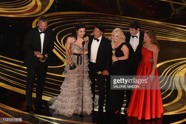The crew of Free Solo accepts the Oscar for Best Documentary during the 91st Annual Academy Awards at the Dolby Theatre in Hollywood California on...