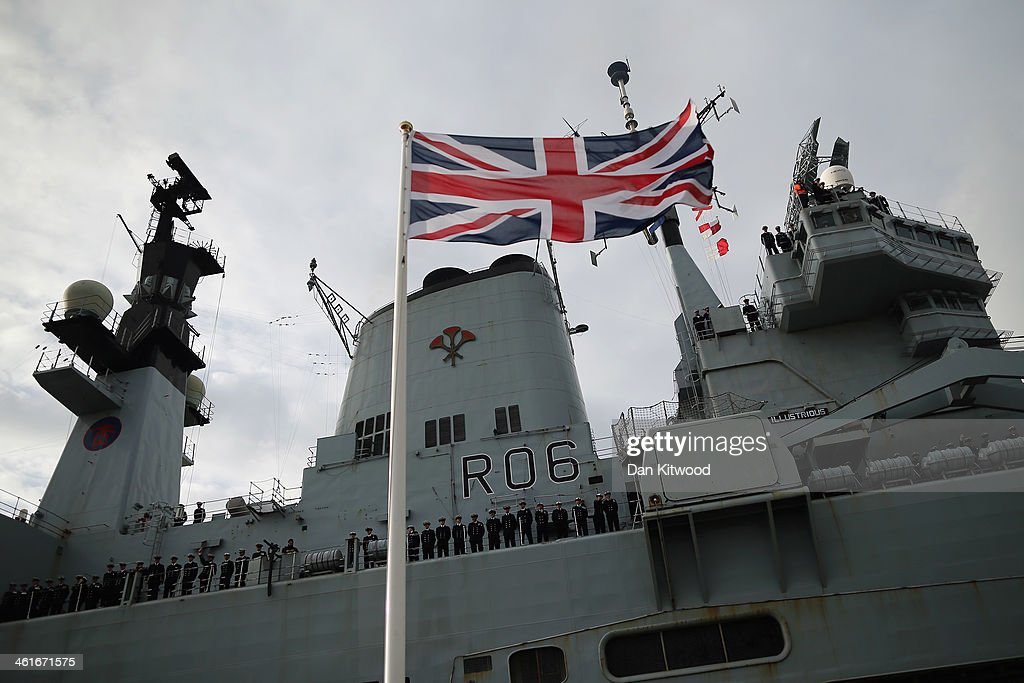 HMS Illustrious Returns To Portsmouth After Typhoon Haiyan Aid Mission : News Photo