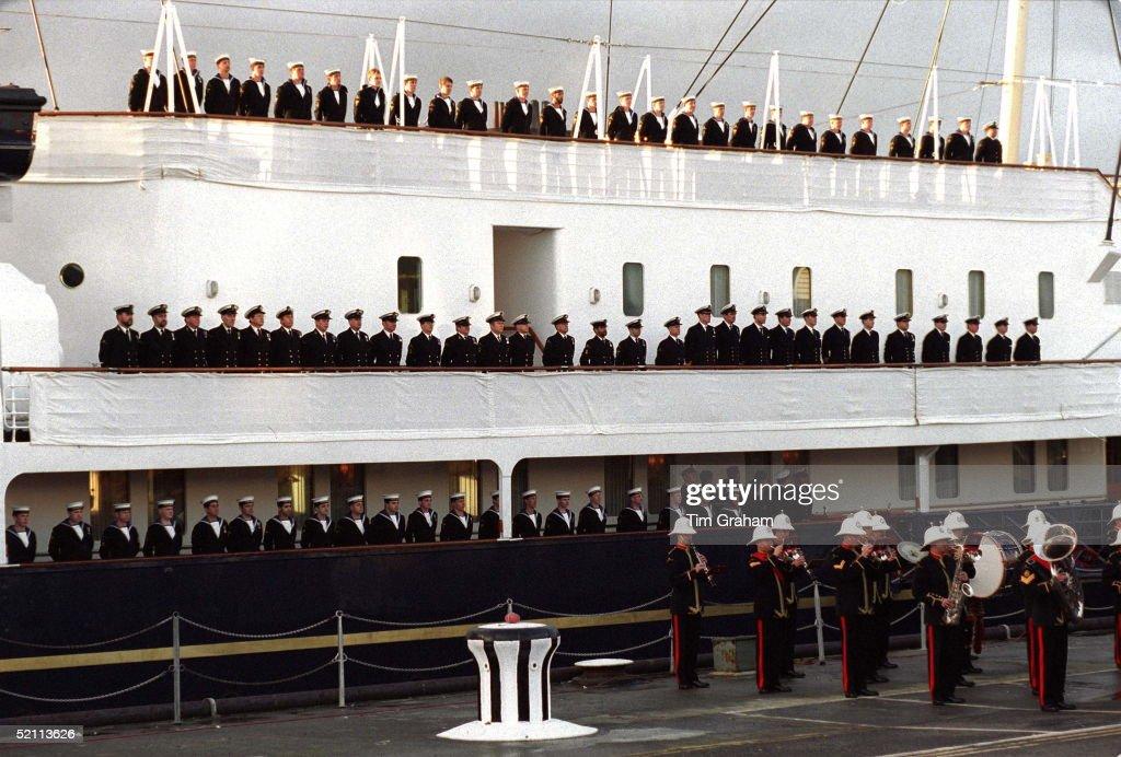 The Crew Of Hmy Britannia At The De-commissioning Ceremony For Hmy Britannia At Portsmouth