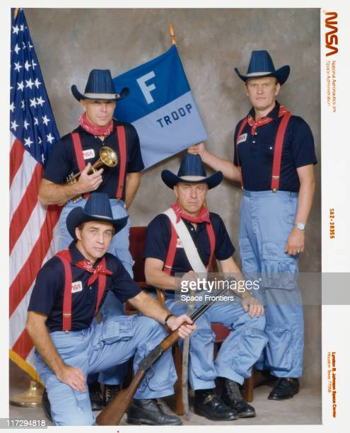 The crew of Nasa's STS6 mission dressed as US cavalrymen from the TV sitcom 'FTroop' 1983 Left to right F Story Musgrave Donald H Peterson Paul J...