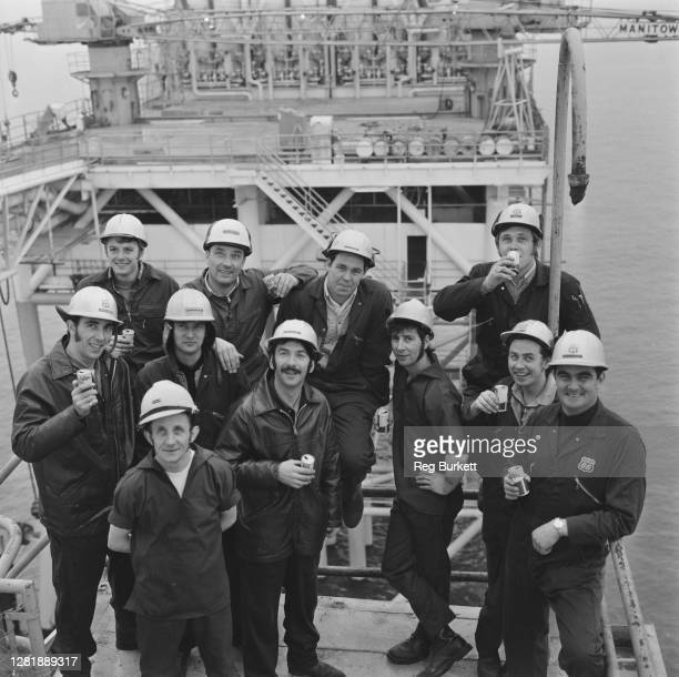The crew of North Sea oil rig Platform 48/29A spend Christmas aboard the platform 23rd December 1972 The oil rig belongs to Phillips Petroleum The...