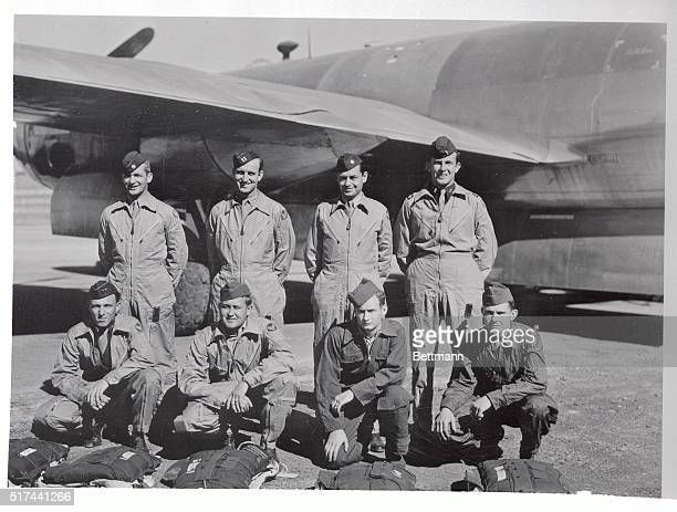 The crew of the A4 plane that will drop an atombomb on Bikini is shown here Left to right Major Woodrow P Swancutt Wisconsin Rapids Wisconsin pilot...