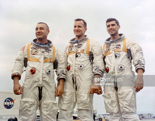 The crew of the Apollo 1 space mission during training at Cape Canaveral Florida January 1967 From left to right Command Pilot Virgil I Grissom...