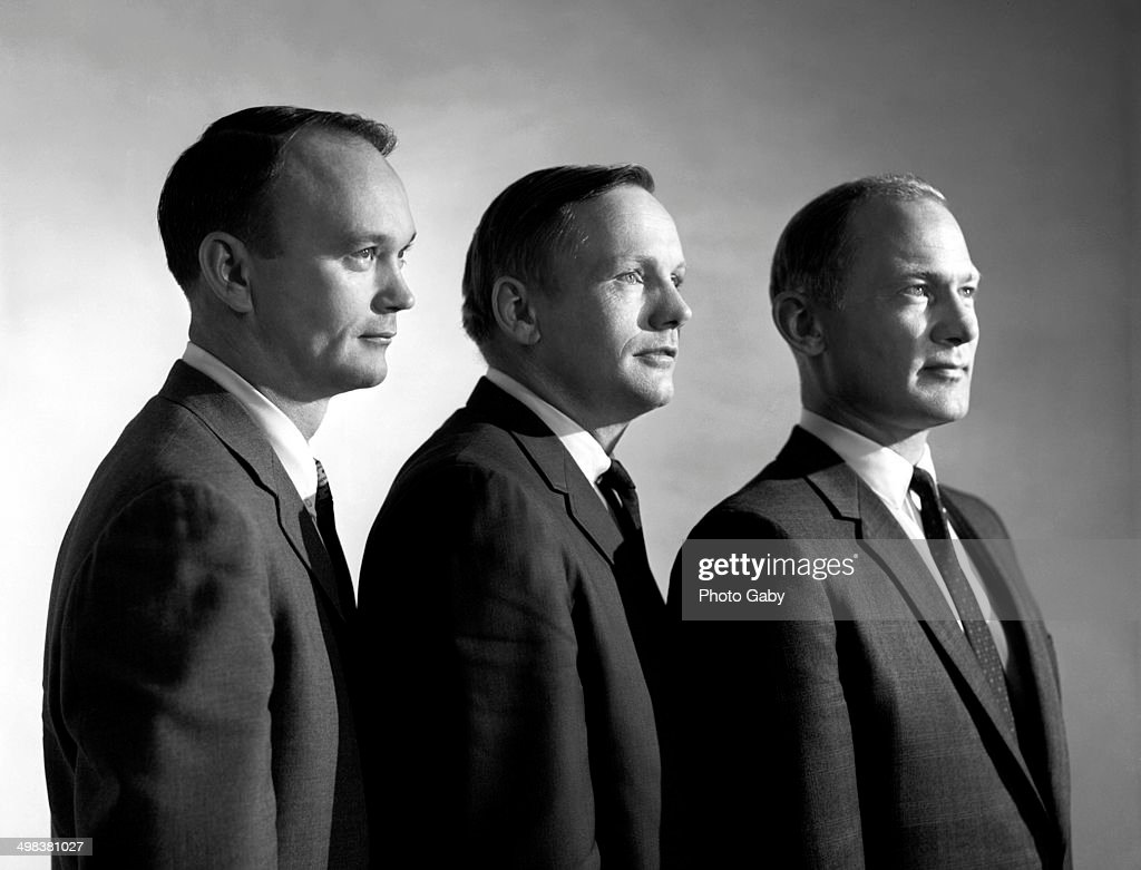 The crew of the Apollo 11 spacecraft, which first landed men on the moon, 1969. Left to right: command module pilot Michael Collins, commander Neil Armstrong (1930 - 2012) and lunar module pilot Buzz Aldrin.