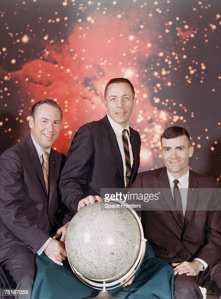The crew of the Apollo 13 lunar landing mission from left to right Commander James A Lovell Jr Command Module pilot John L Swigert Jr and Lunar...