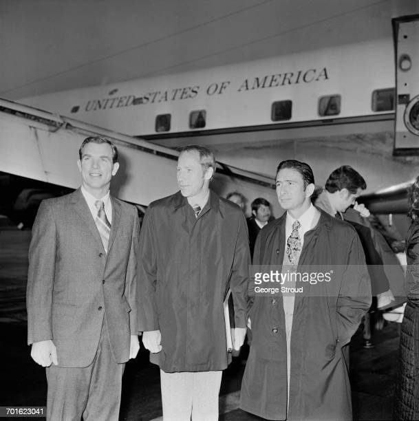 The crew of the Apollo 15 moon mission arrive at London Airport for a lecture tour of Britain 7th November 1971 From left to right they are David...