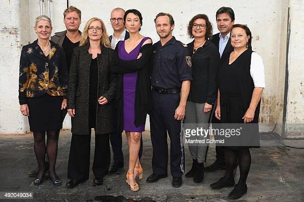 The crew of the film 'Pregau' pose with actress Ursula Strauss and actor Maximilian Brueckner at Sargfabrik on October 9 2015 in Vienna Austria